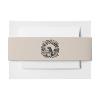 Love Birds on Wreath Wedding Clay Belly Band Invitation Belly Band