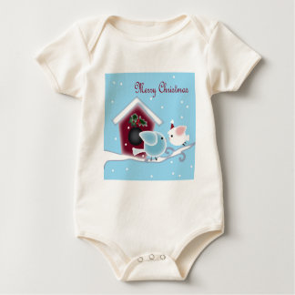 Love Birds Our First Christmas together Baby Bodysuit