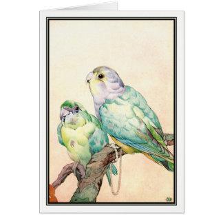 Love-birds - Parrakeets by E. J. Detmold Card