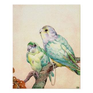 Love-birds - Parrakeets by E. J. Detmold Poster