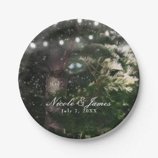 Love Birds + Pine Tree Night Wedding Reception Paper Plate