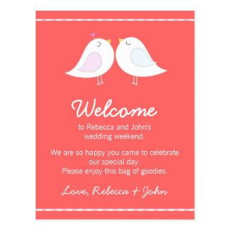 Love Birds Pink Wedding Welcome Card Post Card