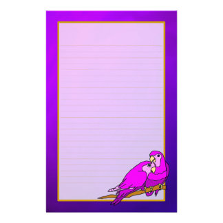 Love Birds Purple Amethyst Fine Lined Stationery