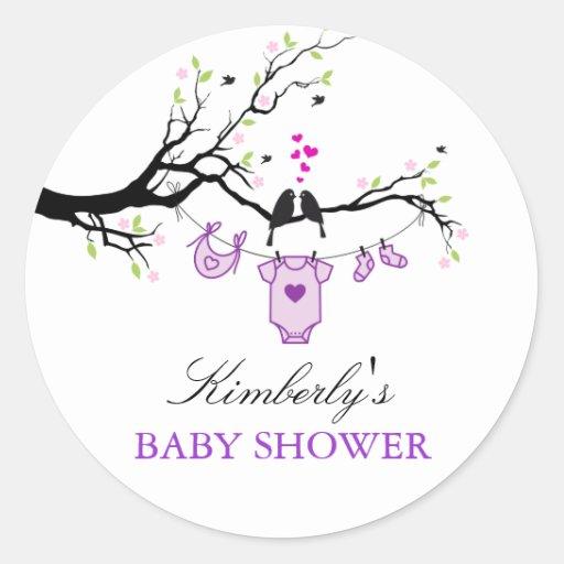 Love Birds | Purple Baby Shower Sticker