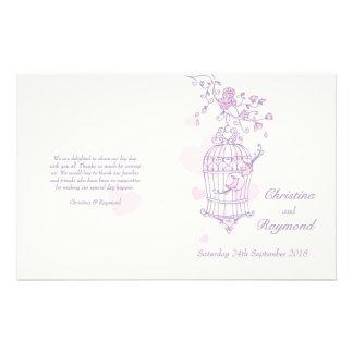 Love birds purple pink Wedding Programme