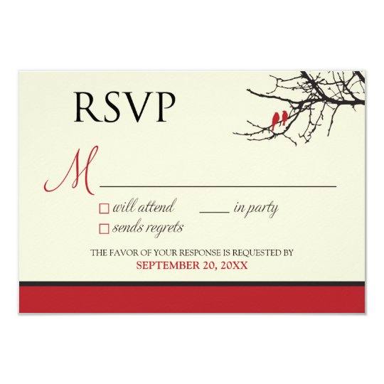 Love Birds RSVP Card (black/red) ::CUSTOM::