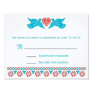 Love Birds RSVP Card - red and blue