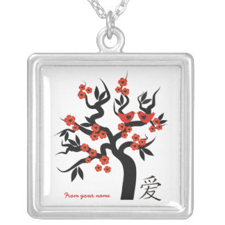 Love birds Sakura Tree Chinese Love silver pendant