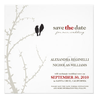 Love Birds Save the Date Announcement black