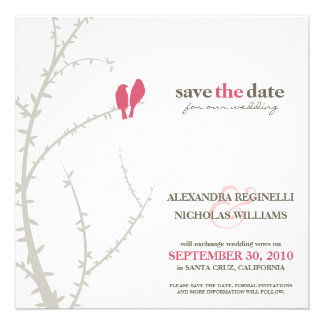 Love Birds Save the Date Announcement (fuchsia)