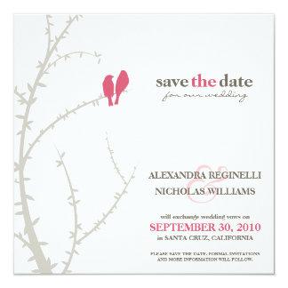 Love Birds Save the Date Announcement (fuchsia)