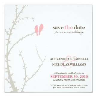 Love Birds Save the Date Announcement (pink)