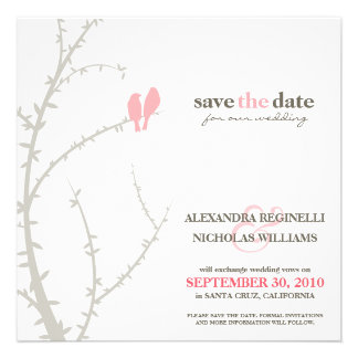 Love Birds Save the Date Announcement pink