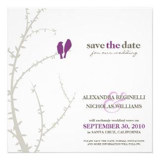 Love Birds Save the Date Announcement purple