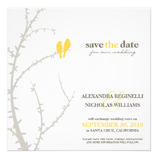 Love Birds Save the Date Announcement yellow