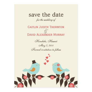 Love Birds Save The Date Card Postcard