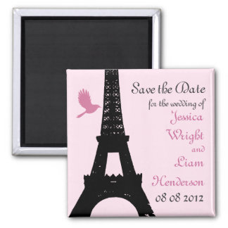Love Birds Save the Date (pink) Square Magnet