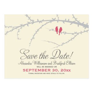 Love Birds Save the Date Postcard (pink)