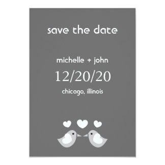 Love Birds Save The Date Version A (Dark Gray) Invitations