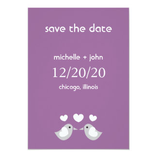 "Love Birds Save The Date Version A (Eggplant) 5"" X 7"" Invitation Card"