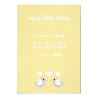 """Love Birds Save The Date Version A (Gold) 5"""" X 7"""" Invitation Card"""