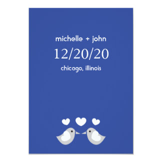 """Love Birds Save The Date Version A (Navy Blue) 5"""" X 7"""" Invitation Card"""