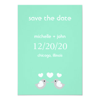 """Love Birds Save The Date Version A (Pale Green) 5"""" X 7"""" Invitation Card"""