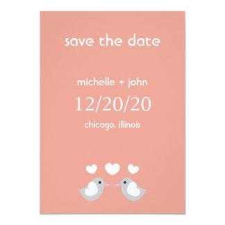 "Love Birds Save The Date Version A (Peach) 5"" X 7"" Invitation Card"
