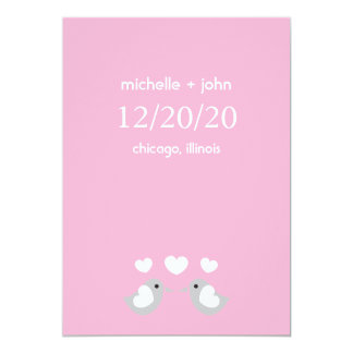 """Love Birds Save The Date Version A (Pink) 5"""" X 7"""" Invitation Card"""