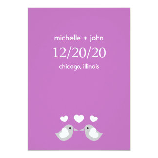 Love Birds Save The Date Version A (Plum Purple) Announcements