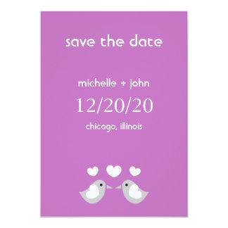 "Love Birds Save The Date Version A (Plum Purple) 5"" X 7"" Invitation Card"