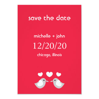 """Love Birds Save The Date Version A (Red) 5"""" X 7"""" Invitation Card"""