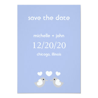 "Love Birds Save The Date Version A (Violet Purple) 5"" X 7"" Invitation Card"
