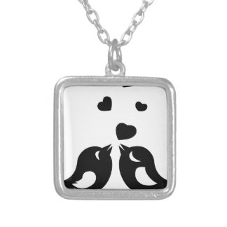 Love birds silver plated necklace