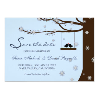 Love Birds Snowflake Oak Tree Winter Save the Date 13 Cm X 18 Cm Invitation Card