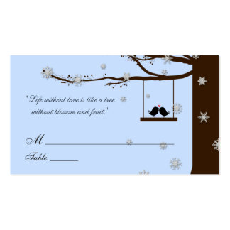 Love Birds Snowflakes Oak Tree Wedding Place Cards Business Card Template