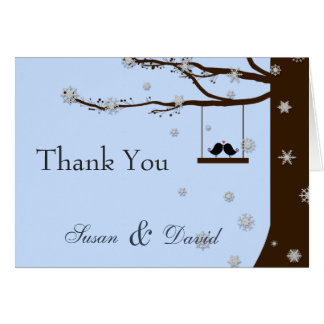 Love Birds Snowflakes Oak Tree Winter Thank You Greeting Card