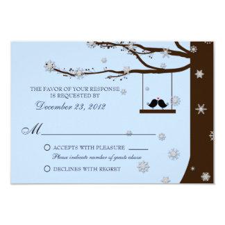 Love Birds Snowflakes Oak Tree Winter Wedding RSVP 3.5x5 Paper Invitation Card