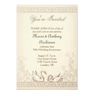 love birds swans wedding anniversary invitations