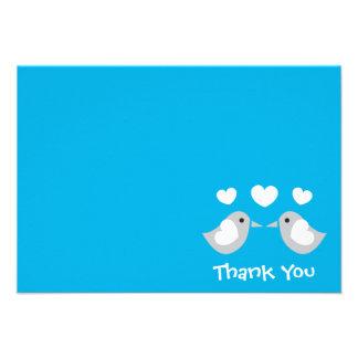 Love Birds Thank You Card (Blue) Invite