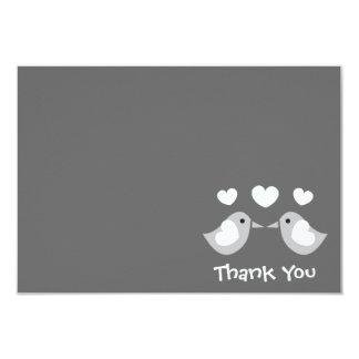 Love Birds Thank You Card (Gray)