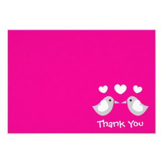 Love Birds Thank You Card (Magenta Pink) Invitations