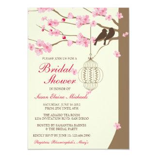 Love Birds Vintage Cage Blossom Bridal Shower 13 Cm X 18 Cm Invitation Card