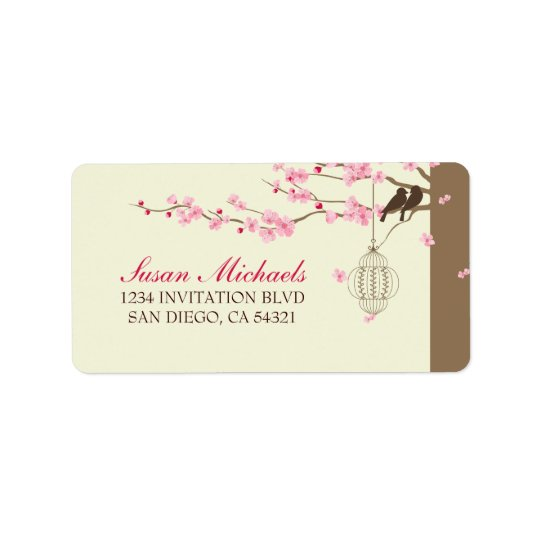 Love Birds Vintage Cage Cherry Blossom Label