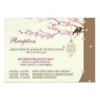 Love Birds Vintage Cage Cherry Blossom Reception 13 Cm X 18 Cm Invitation Card