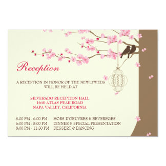 Love Birds Vintage Cage Cherry Blossom Reception Card