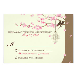 Love Birds Vintage Cage Cherry Blossom RSVP 9 Cm X 13 Cm Invitation Card