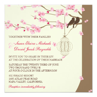 Love Birds Vintage Cage Cherry Blossom Wedding Card