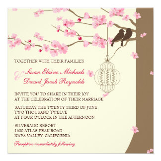 Love Birds Vintage Cage Cherry Blossom Wedding Personalised Invites