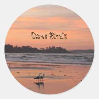 Love Birds Walk the Beach Classic Round Sticker